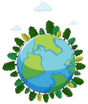 Grote wereld met veel bomen en blauwe lucht