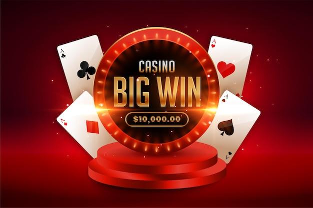 Grote win casino achtergrond met speelkaarten