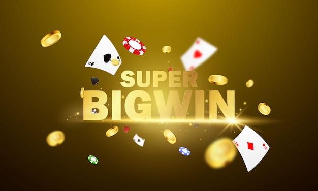 Grote win casino luxe vip-uitnodiging met confetti feestfeest gokken