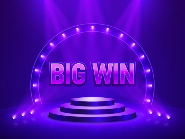 Grote win casinobanner voor tekst. illustratie. Premium Vector