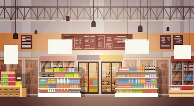 Grote winkel super markt winkelcentrum interieur