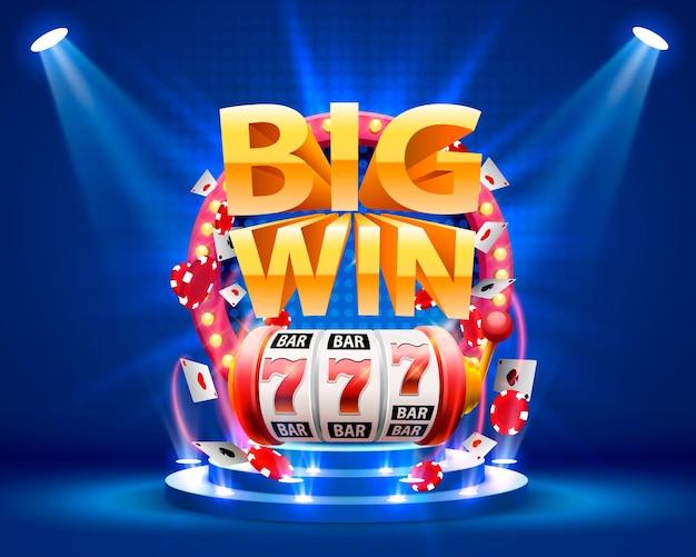Grote winst slots 777 banner casino. vector illustratie