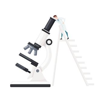 Grote witte microscoop met wetenschapper klimt de ladder cartoon characterdesign platte vectorillustratie op witte achtergrond.