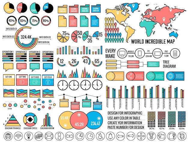 Grote zakelijke platte infographic elementen ingesteld voor design in vintage kleuren