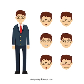 Grote zakenman karakter met zes verschillende gezichtsuitdrukkingen
