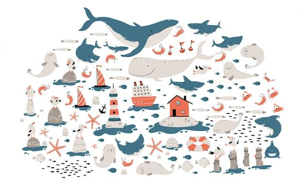 Grote zee set kinderachtig illustratie
