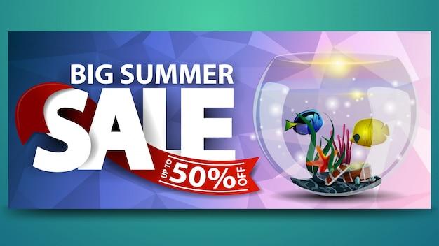 Grote zomer verkoop, horizontale korting webbanner sjabloon