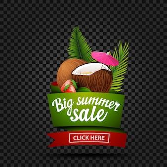 Grote zomer verkoop, korting banner geïsoleerd