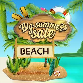 Grote zomer verkoop, webbanner met houten bord met zee decor