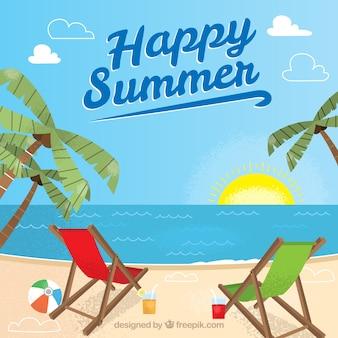 Grote zomerachtergrond met ligstoelen en palmbomen