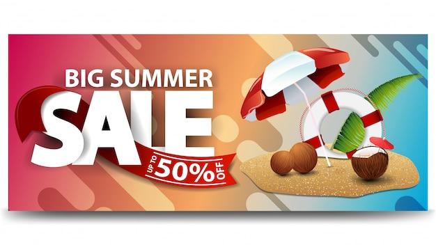Grote zomerverkoop, horizontale kortingswebbanner voor uw website