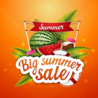 Grote zomerverkoop, korting, klikbare webbannerlay-out voor uw creativiteit