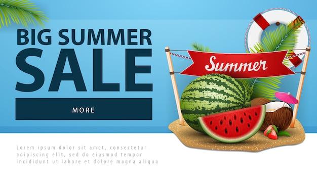 Grote zomerverkoop, korting webbanner met watermeloen