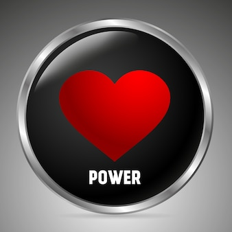 Grote zwarte knop met een rood hart, het opschrift power. 3d-stijl.