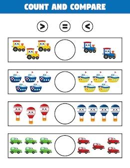 Groter dan of kleiner dan spel voor kinderen. tel en vergelijk. educatief afdrukbaar werkblad.