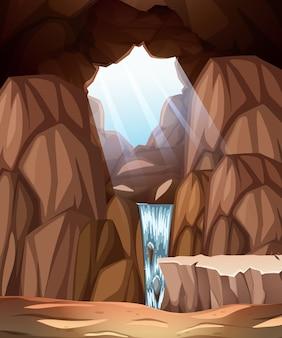 Grotscène met dakraam en waterval