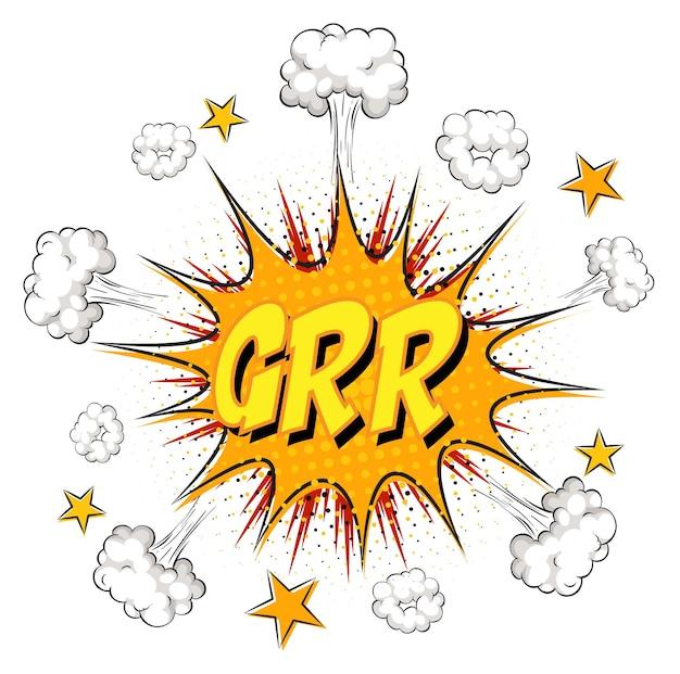 Grr-tekst op komische wolkexplosie die op witte achtergrond wordt geïsoleerd