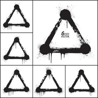 Grunge abstracte driehoek vormen vector set