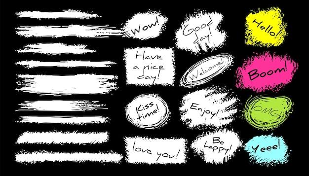 Grunge achtergronden instellen. vector penseelstreken. ruimte voor tekst