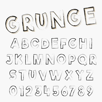 Grunge alfabet lettertype sjabloon. letters en cijfers van distressed beroerte ontwerp. vector illustratie.
