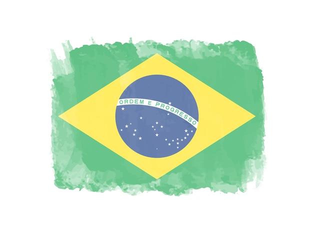 Grunge aquarel vlag van brazilië