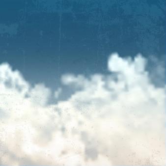 Grunge blauwe hemel achtergrond met wolken