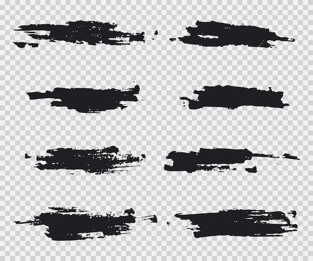 Grunge borstels vector set geïsoleerd op een transparante achtergrond.