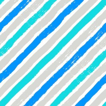 Grunge borstelt blauw en grijs diagonaal naadloos patroon