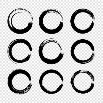 Grunge cirkel penseelstreken instellen voor frames, pictogrammen, ontwerpelementen