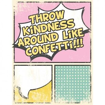 Grunge comic stijl kaart met motto