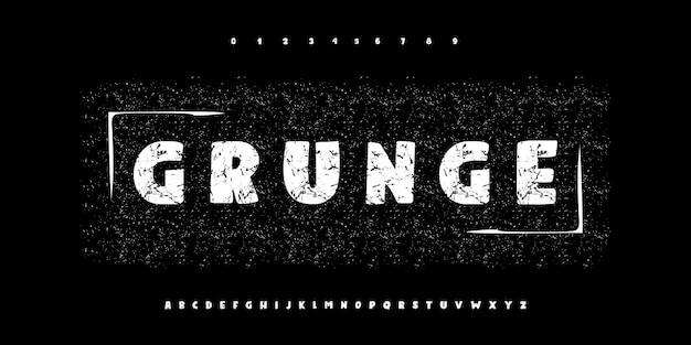 Grunge en krijt typografie alfabet lettertypen en aantal ingesteld