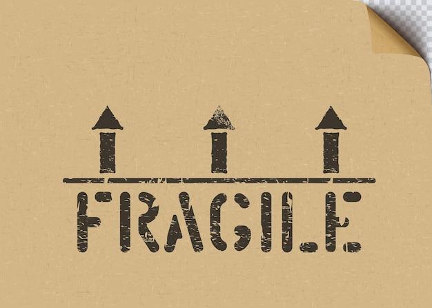 Grunge fragile lading vak teken met pijlen op ambachtelijke kartonnen papier achtergrond voor logistiek