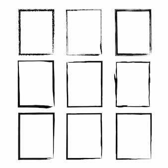 Grunge frame textuur set