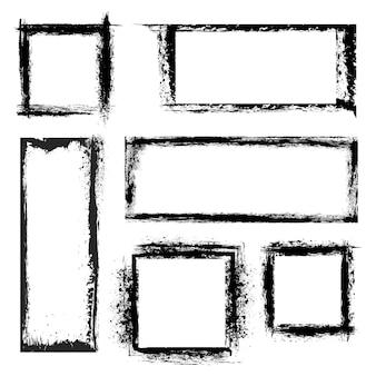 Grunge frames ingesteld. figuur geometrische, gestructureerde verzamelborden. vector illustratie