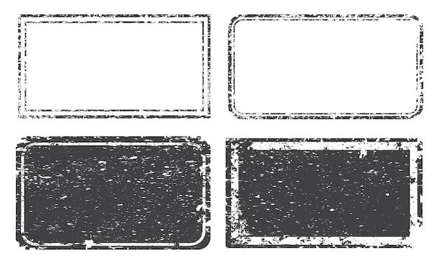 Grunge getextureerde stempels rechthoek vorm