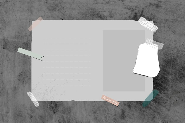 Grunge grijze lege dagboek sjabloon