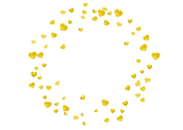 Grunge hart achtergrond voor valentijnsdag met gouden glitter. 14 februari dag. vectorconfettien voor de achtergrond van het grungehart. hand getekende textuur. liefdesthema voor cadeaubonnen, vouchers, advertenties, evenementen.
