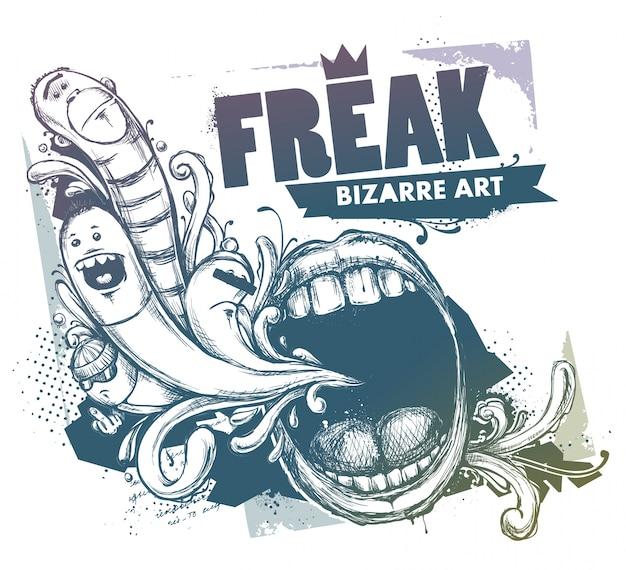 Grunge illustratie met karakters en mond