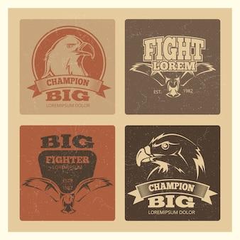 Grunge kaarten set met eagle logo set