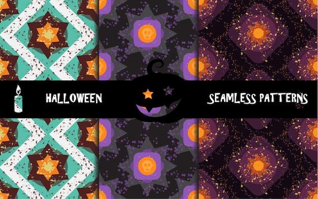 Grunge kleurrijke halloween geometrische naadloze patronen