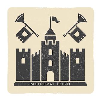 Grunge middeleeuws kasteel logo