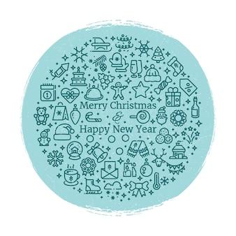 Grunge nieuwjaar en kerstmis lijntekeningen pictogrammen gerangschikt in bal