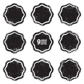 Grunge ontwerp getextureerde badges vector set