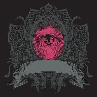Grunge ornament met oog en lint
