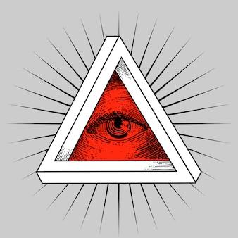 Grunge ornament met rode ogen