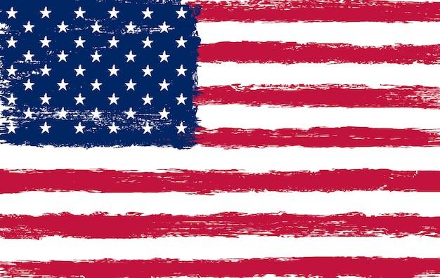 Grunge penseelstreek amerikaanse vlag