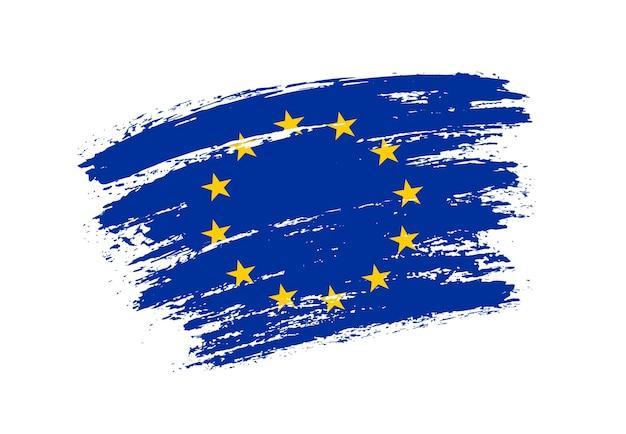 Grunge penseelstreek eu-vlag