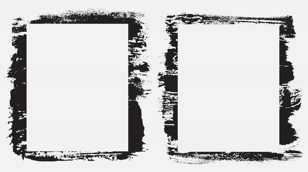 Grunge penseelstreek frame grens set