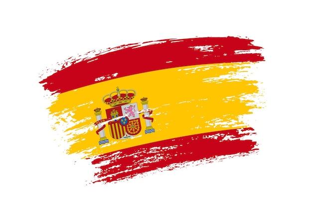 Grunge penseelstreek vlag van spanje