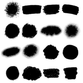Grunge penseelstreken. inktvlekken en bouten. hand getekende rommelige verf ontwerpelementen. vector illustratie